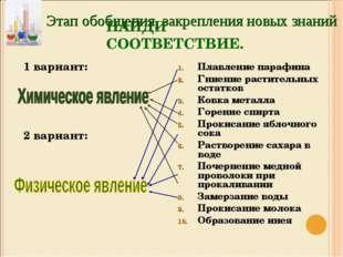 НАЙДИ СООТВЕТСТВИЕ. 1 вариант: 2 вариант: Плавление парафина Гниение растител