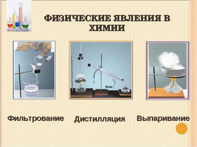 ФИЗИЧЕСКИЕ ЯВЛЕНИЯ В ХИМИИ Фильтрование Дистилляция Выпаривание