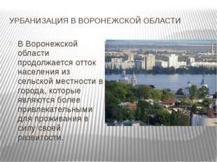 УРБАНИЗАЦИЯ В ВОРОНЕЖСКОЙ ОБЛАСТИ В Воронежской области продолжается отток на