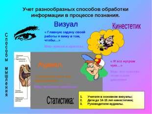 * Учет разнообразных способов обработки информации в процессе познания. « Гла