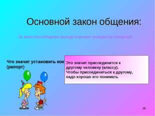 * Основной закон общения: За качество общения всегда отвечает инициатор общен