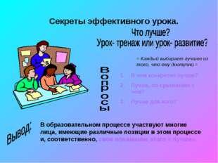 Секреты эффективного урока. = Каждый выбирает лучшее из того, что ему доступн