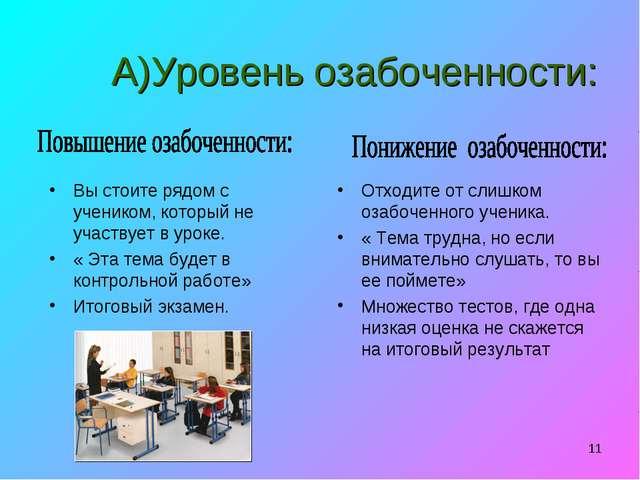 * А)Уровень озабоченности: Вы стоите рядом с учеником, который не участвует в...