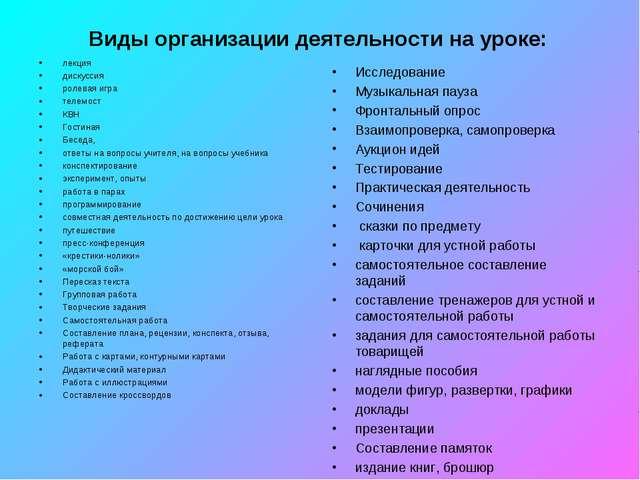Виды организации деятельности на уроке: лекция дискуссия ролевая игра телемос...