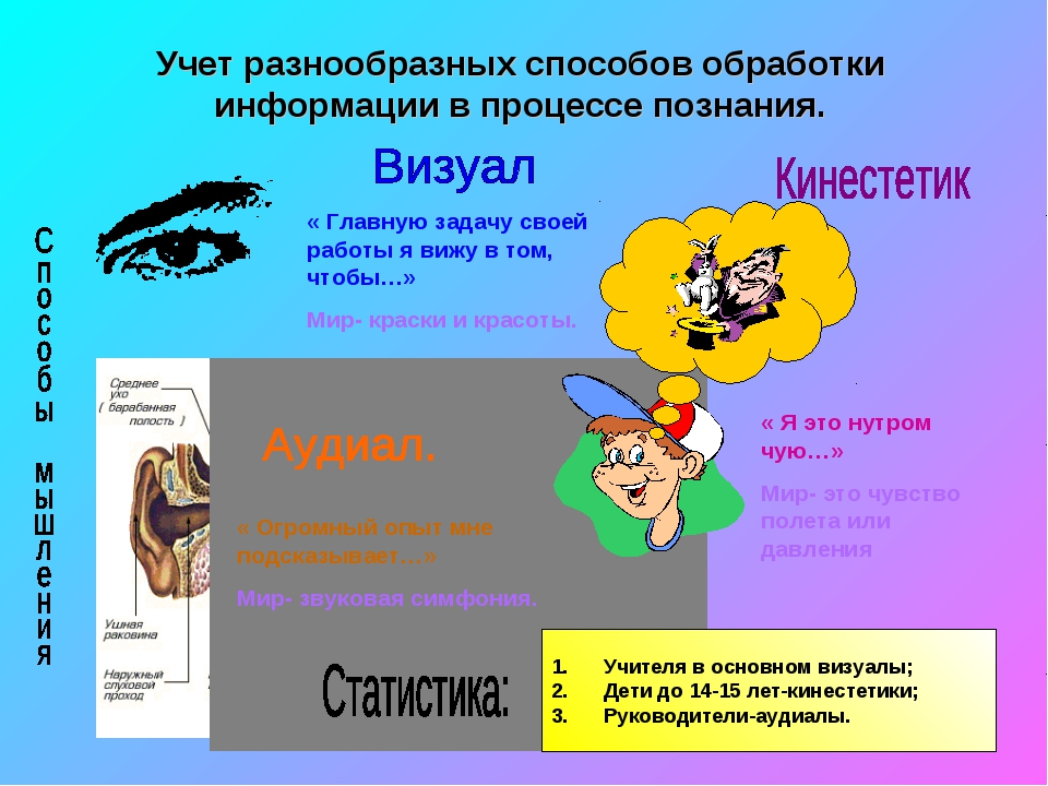 * Учет разнообразных способов обработки информации в процессе познания. « Гла...
