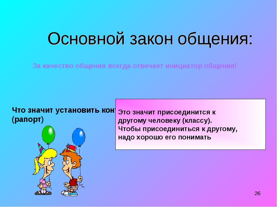 * Основной закон общения: За качество общения всегда отвечает инициатор общен...