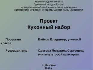 Калининградская область Гурьевский городской округ муниципальное общеобразова