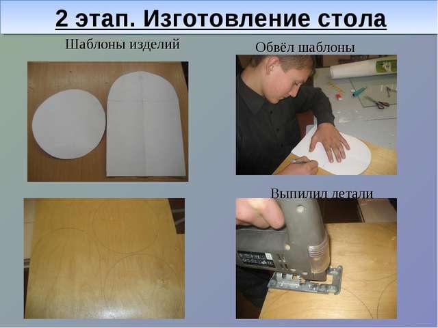 2 этап. Изготовление стола Обвёл шаблоны Выпилил детали Шаблоны изделий