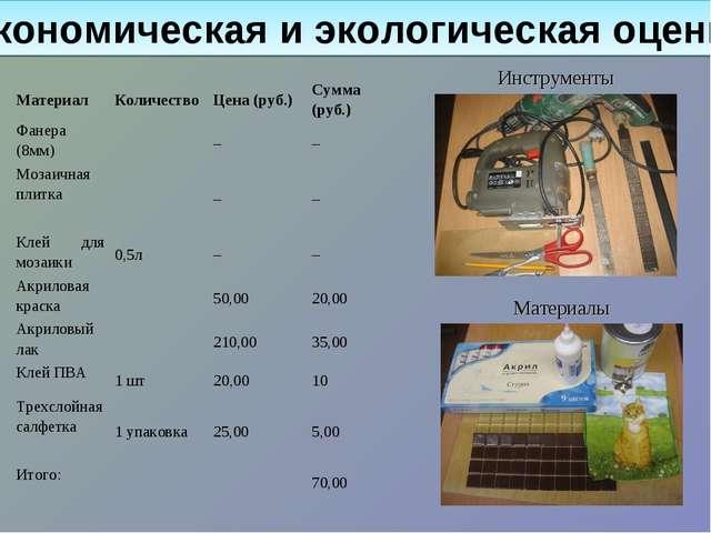 Экономическая и экологическая оценка Инструменты Материалы МатериалКоличеств...
