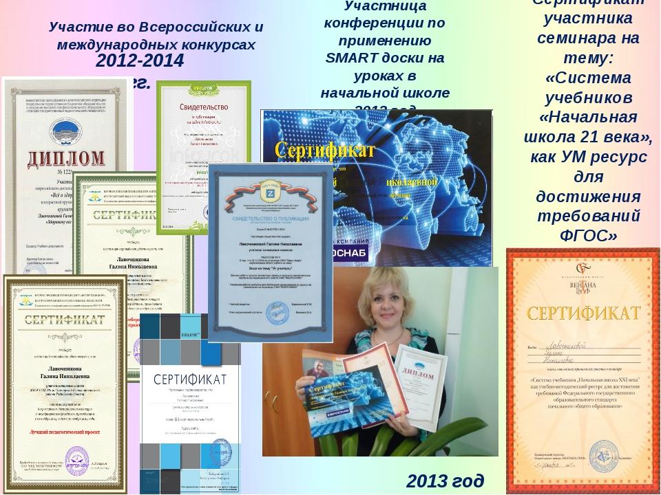 Участие во Всероссийских и международных конкурсах 2008 год 2012-2014 гг. 201...