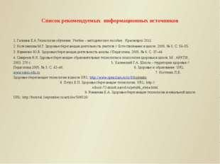 Список рекомендуемых информационных источников 1. Галкина Е.А.Технология обуч