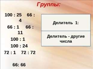 Делитель - другие числа Группы: 100 : 25 66 : 4 66 : 1 66 : 11 100 : 1 100 :