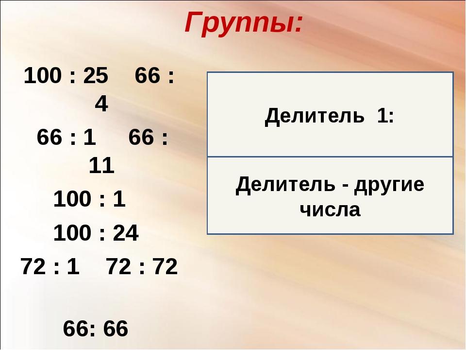 Делитель - другие числа Группы: 100 : 25 66 : 4 66 : 1 66 : 11 100 : 1 100 :...