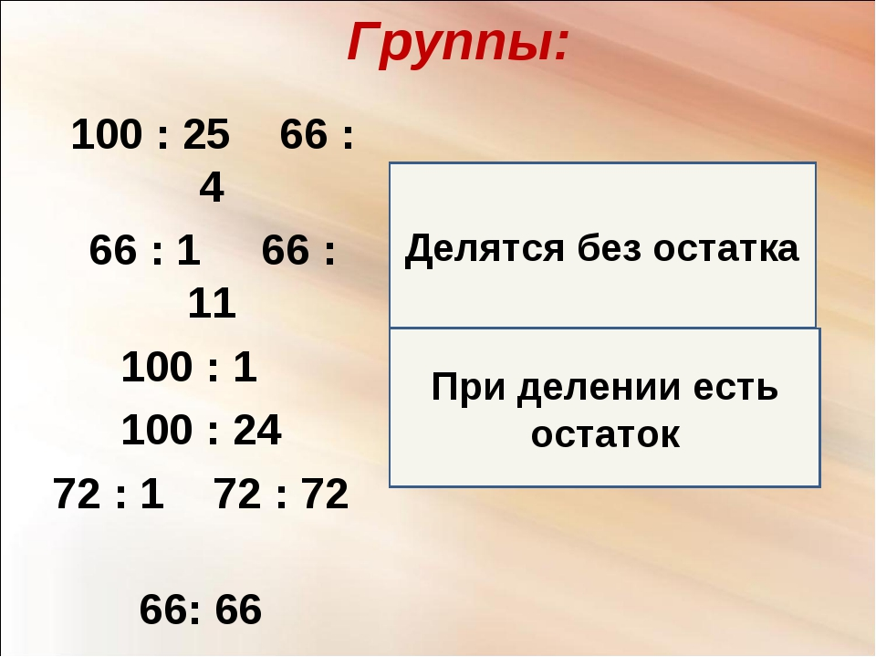При делении есть остаток Делятся без остатка Группы: 100 : 25 66 : 4 66 : 1 6...