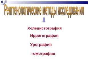 Холецистография Ирригография Урография томография