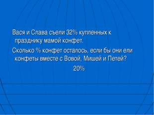 Вася и Слава съели 32% купленных к празднику мамой конфет. Сколько % конфет