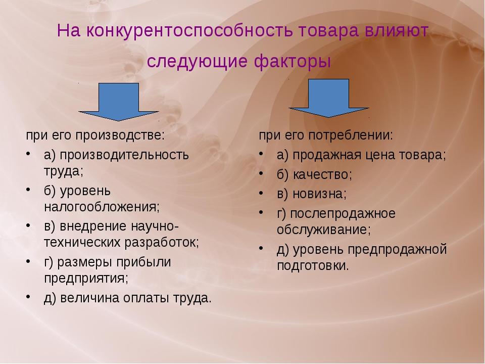 На конкурентоспособность товара влияют следующие факторы при его производстве...