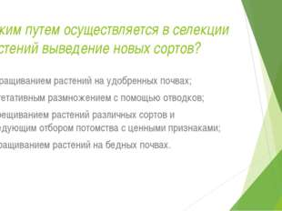 Каким путем осуществляется в селекции растений выведение новых сортов? а) выр