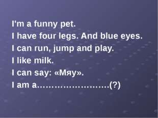 I'm a funny pet. I have four legs. And blue eyes. I can run, jump and play.