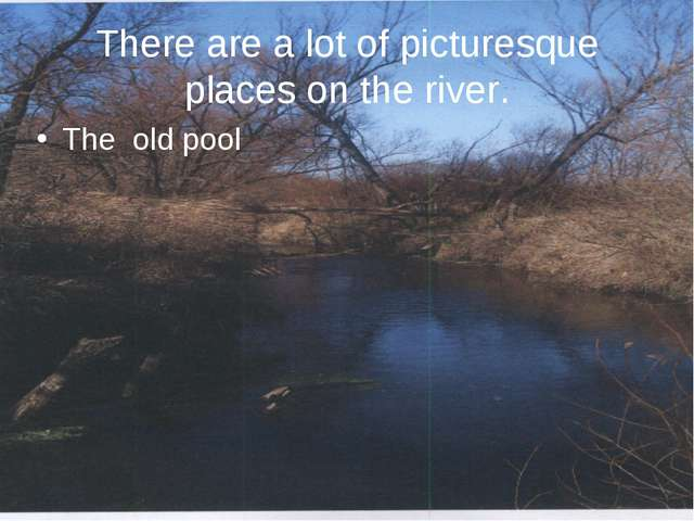 There are a lot of picturesque places on the river. The old pool
