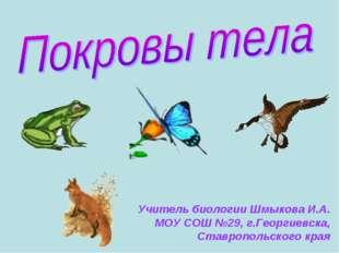 Учитель биологии Шмыкова И.А. МОУ СОШ №29, г.Георгиевска, Ставропольского края