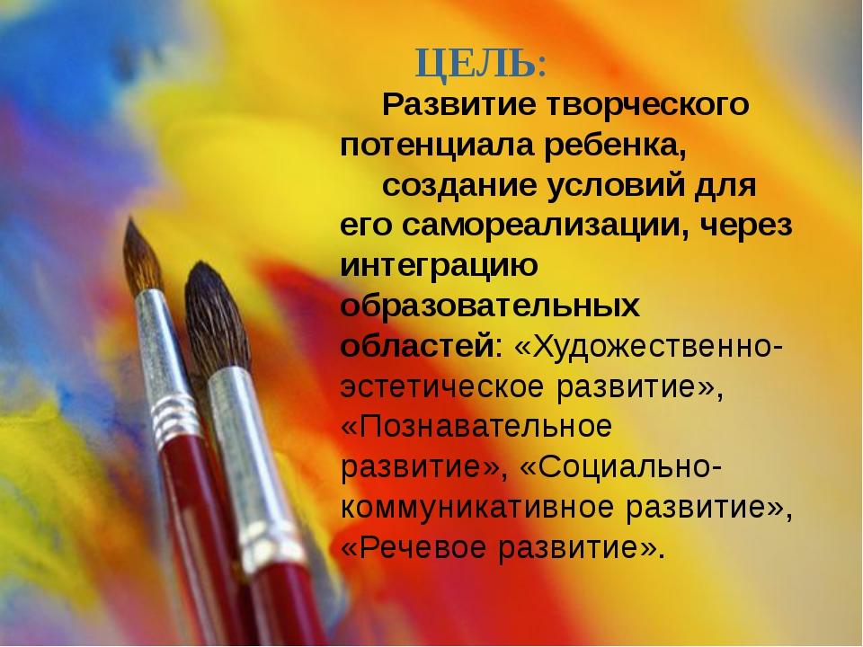 ЦЕЛЬ: Развитие творческого потенциала ребенка, создание условий для его само...