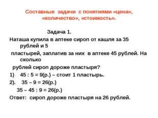 Составные задачи с понятиями «цена», «количество», «стоимость». Задача 1. Нат