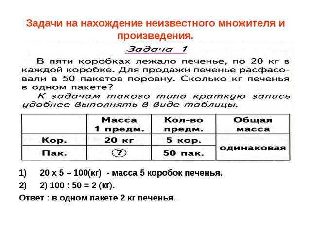 Задачи на нахождение неизвестного множителя и произведения. 20 х 5 – 100(кг)...