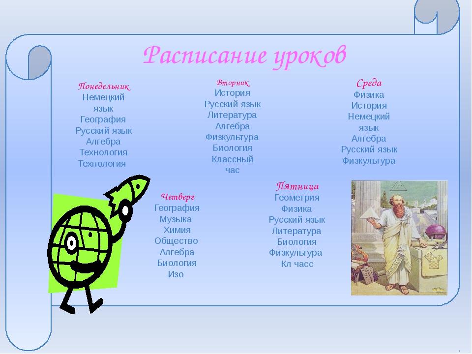 Расписание уроков Понедельник Немецкий язык География Русский язык Алгебра Т...