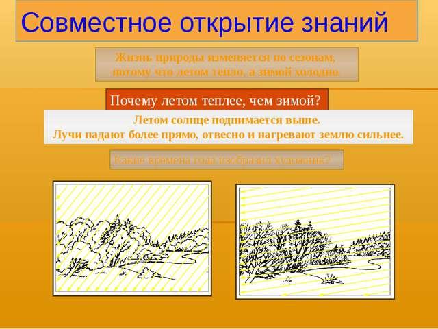 Совместное открытие знаний Жизнь природы изменяется по сезонам, потому что ле...