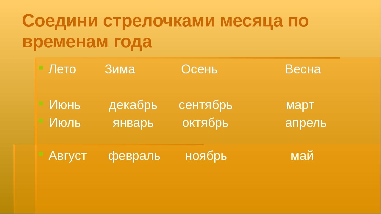 Соедини стрелочками месяца по временам года Лето Зима Осень Весна Июнь декабр...