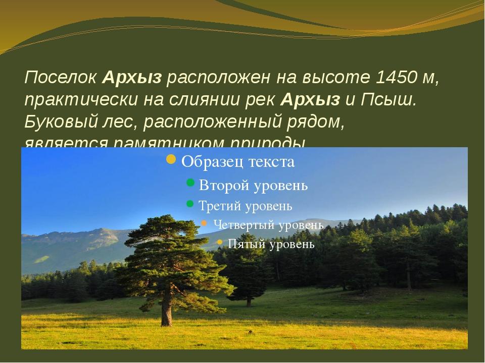 ПоселокАрхызрасположен на высоте 1450 м, практически на слияниирекАрхызи...