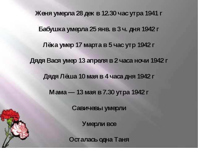 Женя умерла 28 дек в 12.30 час утра 1941 г Бабушка умерла 25 янв. в 3 ч. дня...