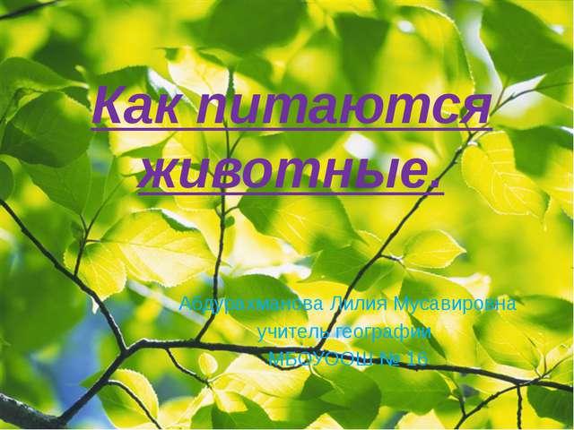 Как питаются животные. Абдурахманова Лилия Мусавировна учитель географии МБОУ...