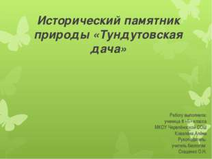 Исторический памятник природы «Тундутовская дача» Работу выполнила: ученица 8