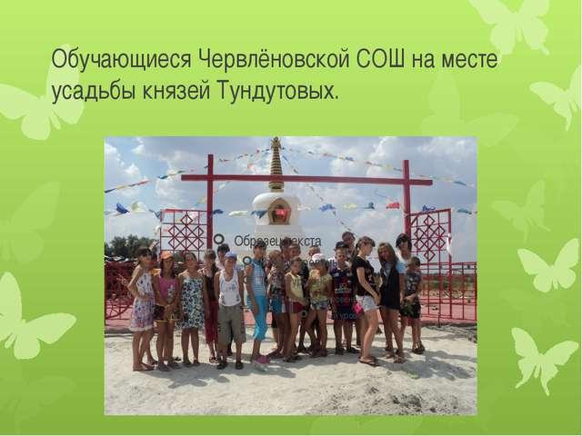 Обучающиеся Червлёновской СОШ на месте усадьбы князей Тундутовых.