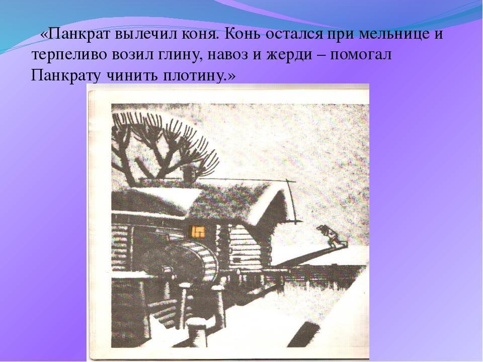 «Панкрат вылечил коня. Конь остался при мельнице и терпеливо возил глину, на...