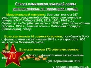 Список памятников воинской славы расположенных на территории города  Мемориа