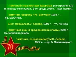 Памятный знак жертвам фашизма, расстрелянным в период оккупации г. Белгорода
