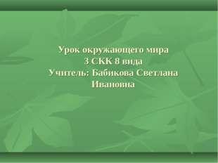 Урок окружающего мира 3 СКК 8 вида Учитель: Бабикова Светлана Ивановна