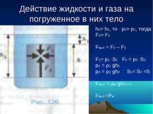 Действие жидкости и газа на погруженное в них тело h2> h1, то p2> p1, тогда F