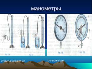 манометры Открытый жидкостный Металлический