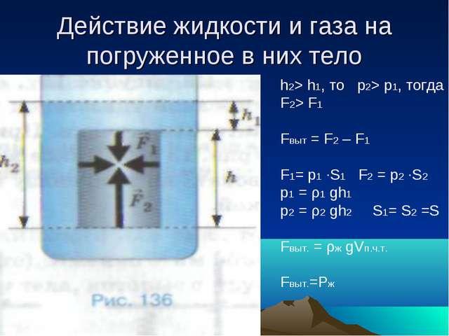 Действие жидкости и газа на погруженное в них тело h2> h1, то p2> p1, тогда F...
