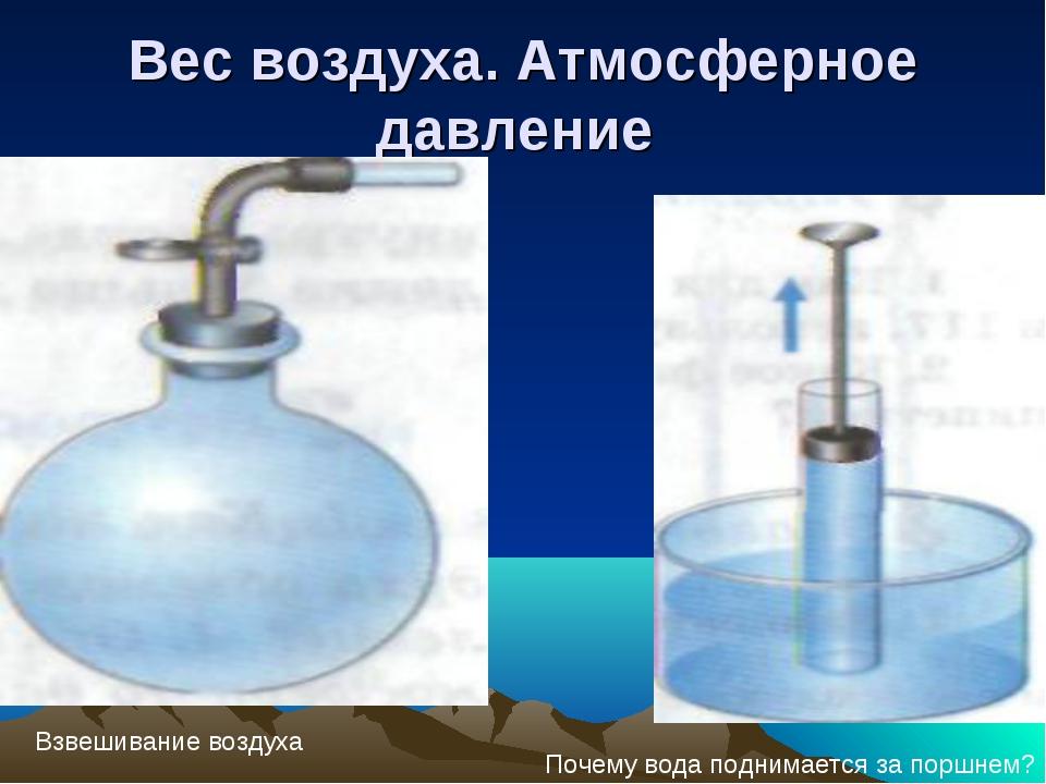 Вес воздуха. Атмосферное давление Взвешивание воздуха Почему вода поднимается...