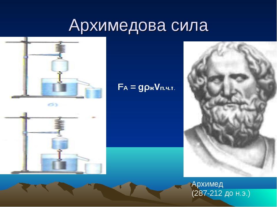 Архимедова сила Архимед (287-212 до н.э.) FА = gρжVп.ч.т.