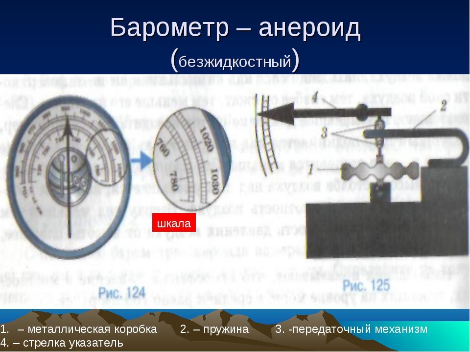 Барометр – анероид (безжидкостный) – металлическая коробка 2. – пружина 3. -п...