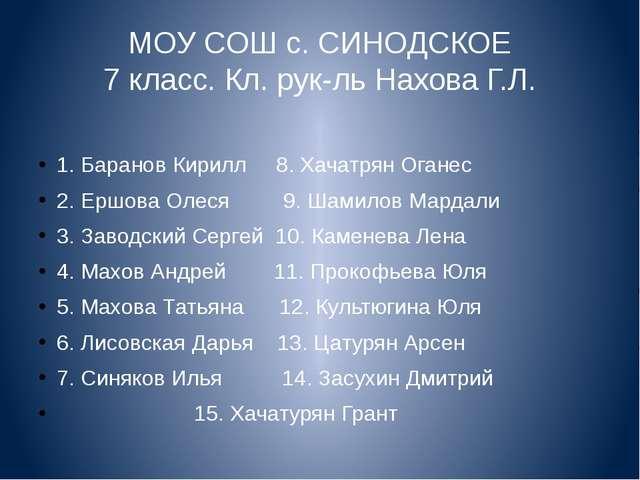 МОУ СОШ с. СИНОДСКОЕ 7 класс. Кл. рук-ль Нахова Г.Л. 1. Баранов Кирилл 8. Хач...