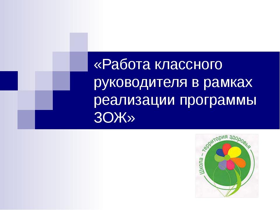 «Работа классного руководителя в рамках реализации программы ЗОЖ»