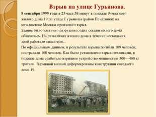 Взрыв на улице Гурьянова. 8 сентября 1999 года в 23 часа 58 минут в подвале 9
