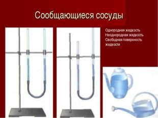 Сообщающиеся сосуды Однородная жидкость Неоднородная жидкость Свободная повер